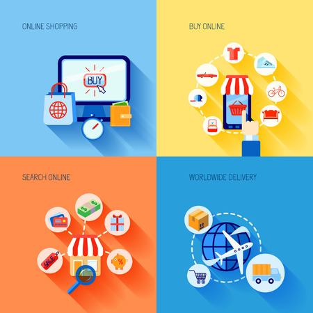 Online shopping buying e-commerce flat icons set with search worldwide delivery isolated vector illustration