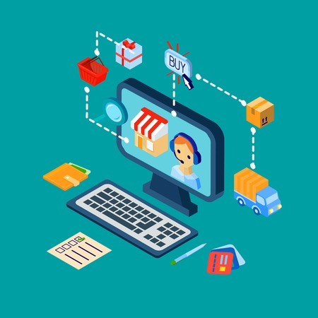 customer service: Online shopping customer support concept with computer and e-commerce isometric decorative icons vector illustration Illustration