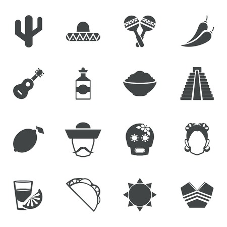 nachos: Mexico travel symbols black icon set with guitar tequila pyramid maize isolated vector illustration