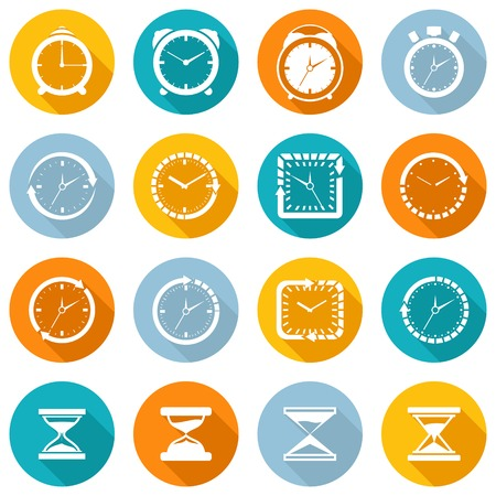 sand watch: Alarm clock old sand watch stopwatch timer time management icons white set isolated vector illustration Illustration