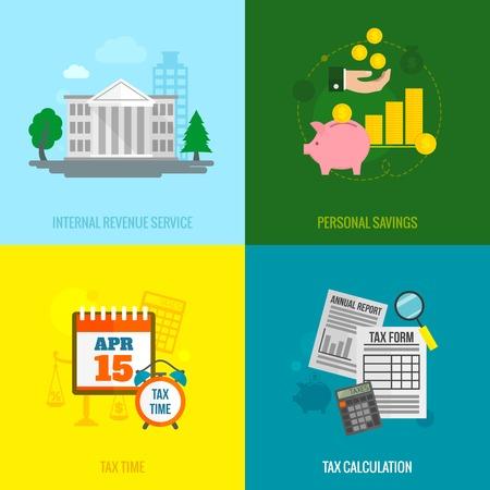 Fiscales icônes plates définies avec calcul du temps de service de recettes internes d'épargne personnelle isolé illustration vectorielle Banque d'images - 34248753