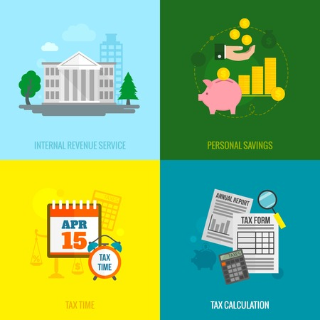 government: Tax flat icons set with internal revenue service personal savings time calculation isolated vector illustration