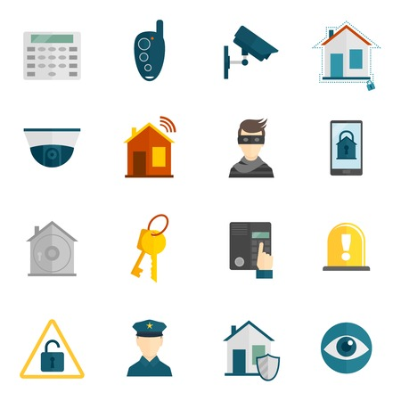 armored safes: Home security icons flat set with police surveillance camera safety system isolated vector illustration Illustration