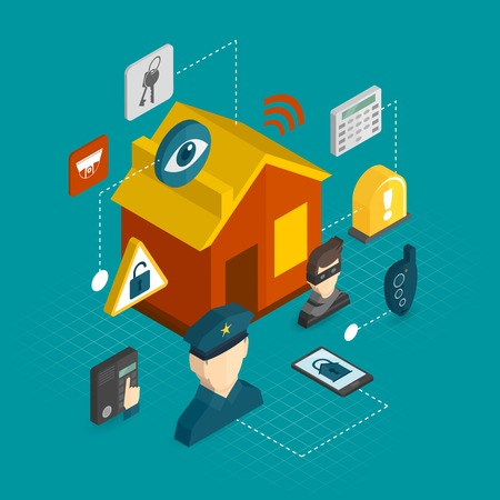 isometrico: Iconos decorativos Inicio isométricos de seguridad establecidas con casa ladrón inteligente concepto de ilustración de sistema de alarma de guardia vector