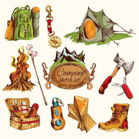 bonfire: Camping sketch colored set with military boots axe knife compass isolated vector illustration
