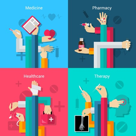 pharmacy icon: Medical hands flat icons set with medicine pharmacy healthcare therapy elements isolated vector illustration
