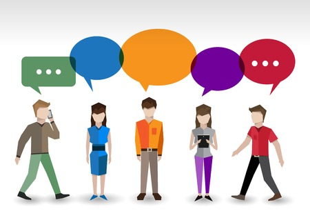 Adult pixel men and women avatars with speech bubbles people chat concept vector illustration Vector