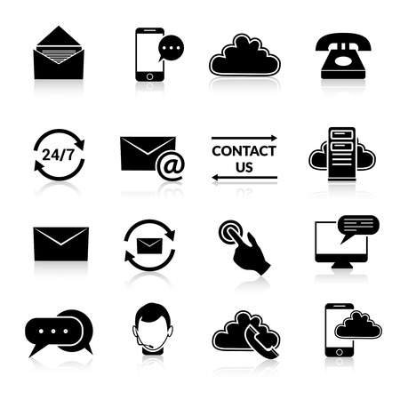 contacting: Contact us phone customer service user support call black and white icons set isolated vector illustration