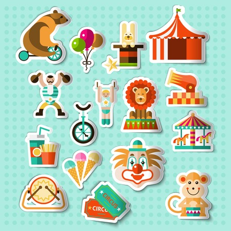 circus caravan: Circus entertainment paper stickers set with tickets lion icecream isolated vector illustration