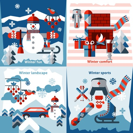 new year tree: Winter flat icons set with sports comfort fun landscape isolated vector illustration