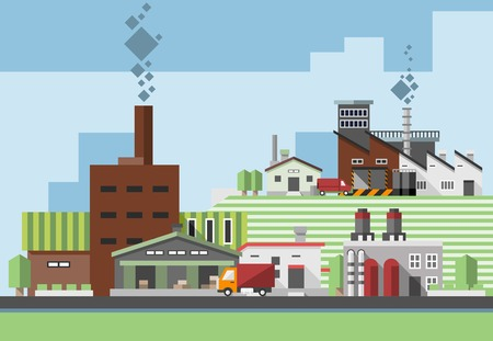 manufactory: Industrial factory concept with plants warehouse buildings and delivery truck vector illustration Illustration