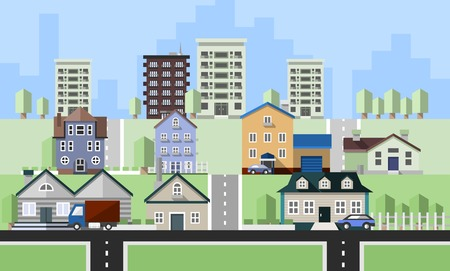 Residential house buildings flat neighborhood real estate background vector illustration Vettoriali