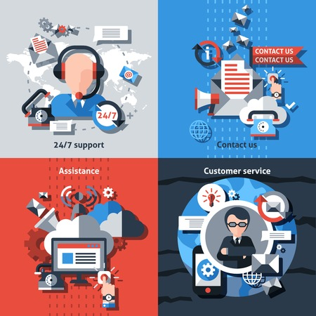 customer service representative: Contact us flat set with 24h support assistance customer service isolated vector illustration