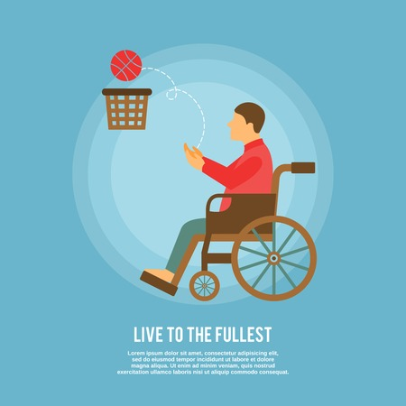 disabled sports: Disability sports with poster disabled man in wheelchair playing basketball vector illustration Illustration