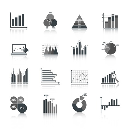 pie chart icon: Business elements dot bar pie charts diagrams and graphs black icons set isolated vector illustration