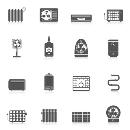 Heating and cooling electric air conditioning equipment black icon set isolated vector illustration Vettoriali