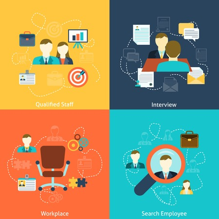 interview: Human resources man woman personnel search selection and interviewing candidates four flat icons composition abstract vector illustration