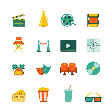 filmmaking: Filmmaking movie theater cinema entrance retro tickets and 3d polarized glasses flat icons collection isolated vector illustration