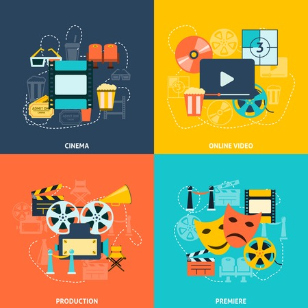 movie projector: Cinematographic production retro style symbols with movie theater seats tickets four flat icons composition abstract vector illustration