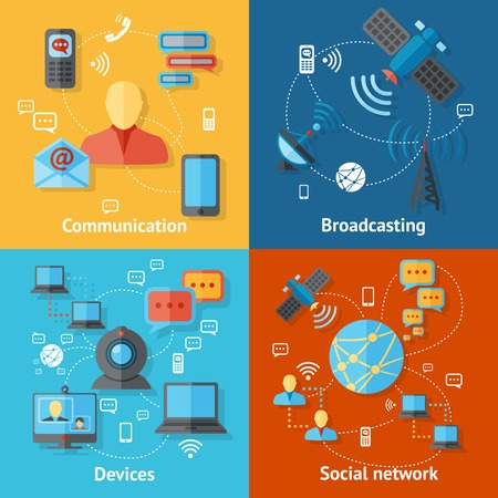 satellite tv: Communication flat icons set with broadcasting social network devices elements isolated vector illustration