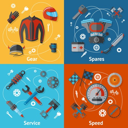 spares: Motorcycle parts flat icon set with gear spares service speed isolated vector illustration Illustration