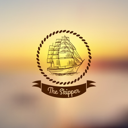 clipper: Nautical emblem with sketch sailing clipper ship with frame on light background vector illustration