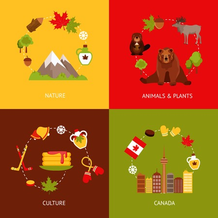 maple syrup: Canada colored flat icons set with nature animals plants culture isolated vector illustration