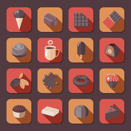 fondue: Chocolate delicious cake dark cacao fondue flat icons set isolated vector illustration.