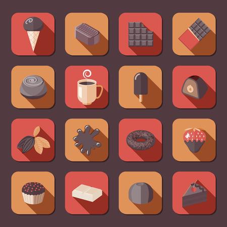 fondue: Chocolate delicious cake dark cacao fondue flat icons set isolated vector illustration.
