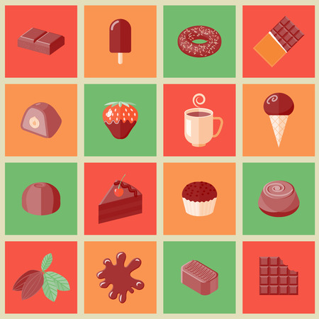 chocolate chip: Chocolate dessert chips cacao bars flat icons set isolated vector illustration