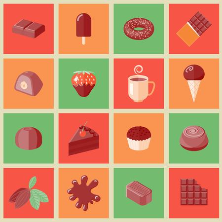 Pépites de chocolat à dessert barres de cacao icônes plates mis isolée illustration vectorielle Banque d'images - 34247196