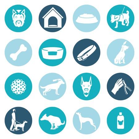 shampoo: Dog icons white set with ball puppy shampoo bowl isolated vector illustration