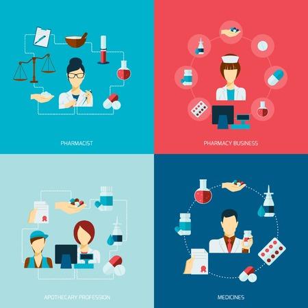 Farmaceuta ikony płaski zestaw z leków apteka aptekarz biznes zawód izolowane ilustracji wektorowych