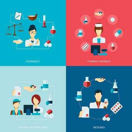 Pharmacist icons flat set with pharmacy business apothecary profession medicines isolated vector illustration