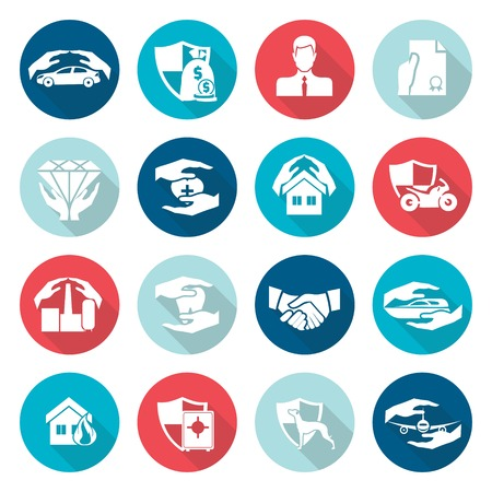 house flood: Insurance security icons flat set of medical life family protection and security symbols isolated vector illustration Illustration