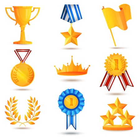 sports winner: Award icons set of trophy medal winner prize champion cup isolated vector illustration