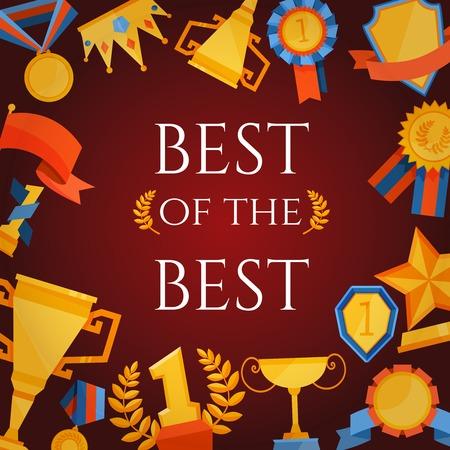 primer lugar: Adjudicación y premios cartel con el mejor de los mejores elementos de las letras y de victoria ilustración vectorial