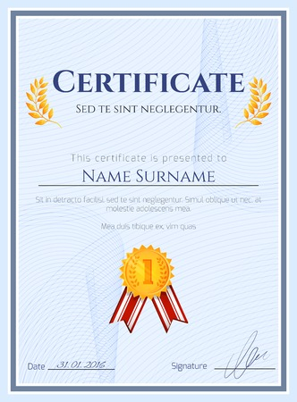 award certificate: Winner certificate diploma template with seal award decoration vector illustration Illustration