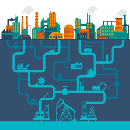 coal: Factory flat industry background with manufactory technology buildings and underground drilling pipes vector illustration