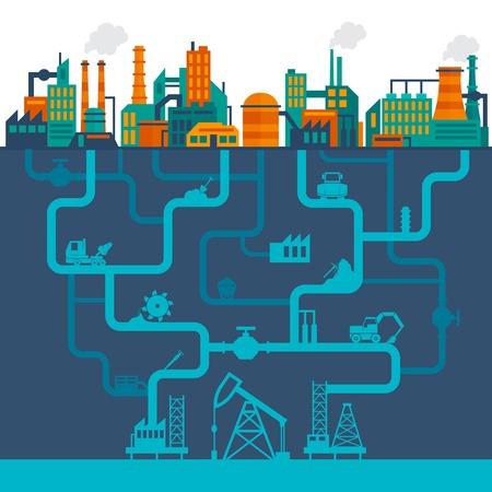 industry background: Fondo de la industria plana de f�brica con edificios de tecnolog�a de manufactura y tuber�as de perforaci�n subterr�neos ilustraci�n vectorial