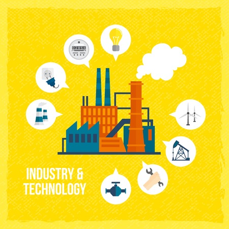 Factory building industry and technology concept with manufactory and industrial icons vector illustration
