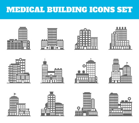 hospital sign: Medical building healthcare first aid modern hospital black icons set isolated vector illustration Illustration