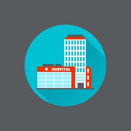 building backgrounds: Modern flat urban hospital building decorative icon isolated vector illustration