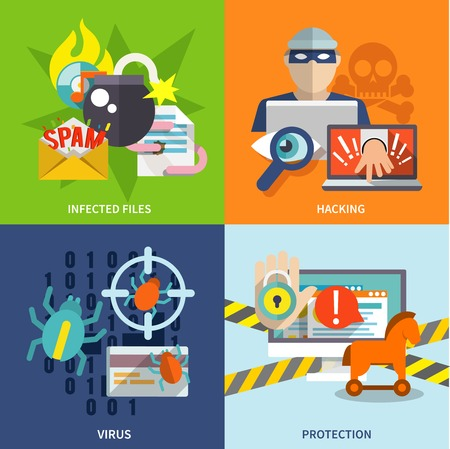 crime: Hacker flat icons set with infected files hacking virus protection isolated vector illustration Illustration