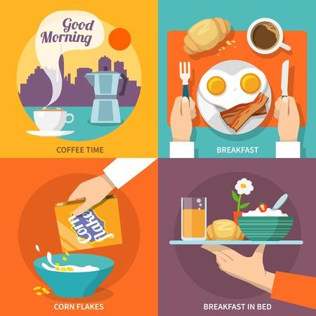 buen servicio: Iconos del desayuno plana establecen con aislados copos de ma�z hora del caf� cama ilustraci�n vectorial