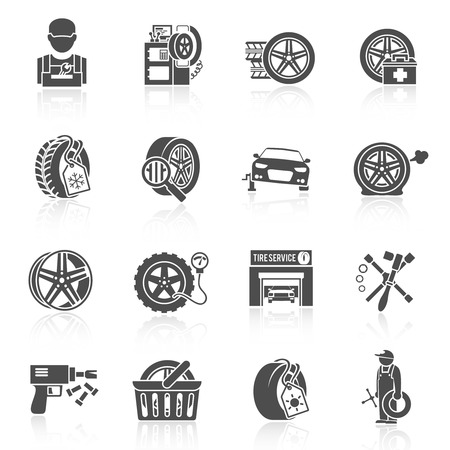tire shop: Tire wheel service car auto mechanic repair work icons black set isolated vector illustration