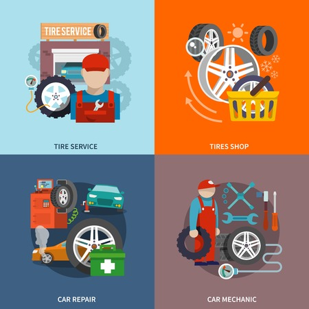 Tire service flat set with shop car repair mechanic isolated vector illustration. Illustration