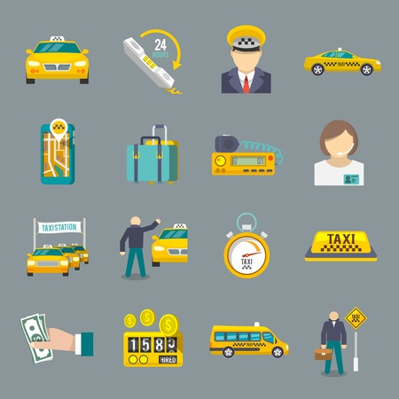 driver license: Taxi driver transportation service icons flat set isolated vector illustration. Illustration