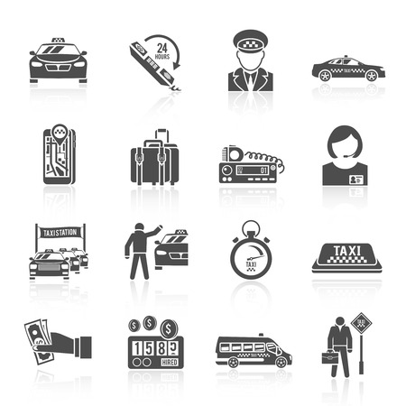 driver license: Taxi driver transportation car service cab man icons black set isolated vector illustration