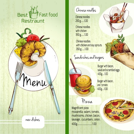Asian Food Menu Template With Traditional Chinese Food Dishes ...